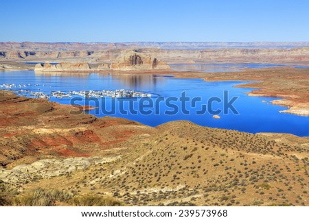 Lake Powell Marina in the distance - stock photo