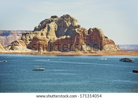 Lake Powell Reservoir on the Colorado River in Northern Arizona State, United States. Popular Vacation Destination. - stock photo