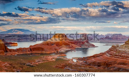 Lake Powell-the second largest man-made lake in the United States is the playground for Page, Arizona, and nearly three million visitors annually. - stock photo