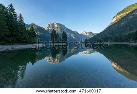 Lake Predil in the early morning. One of the most beautiful lakes in the Julian Alps.