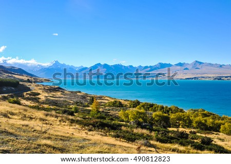 Lake Pukaki and Mt.Cook view from Peter lookout, Canterbury, New Zealand