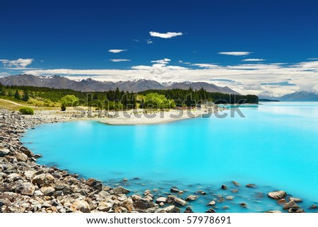 Lake Pukaki, New Zealand - stock photo