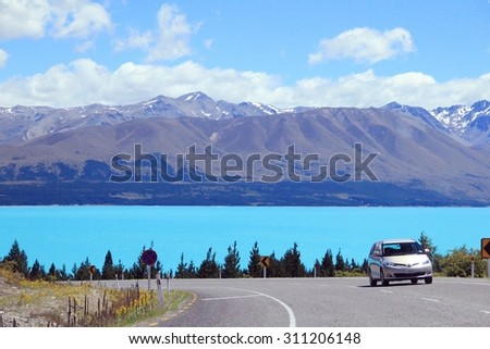Lake Pukaki with beautiful view on Southern Alps in the background - stock photo