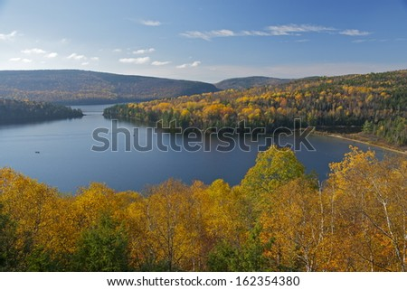Lake Sacacomie during foliage season, Mauricie, Quebec, Canada - stock photo