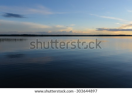 LAKE SELIGER, RUSSIA - CIRCA JUNE 2015: view of calm on the Lake Seliger which is in Novgorod Oblast of Russia circa June 2015.