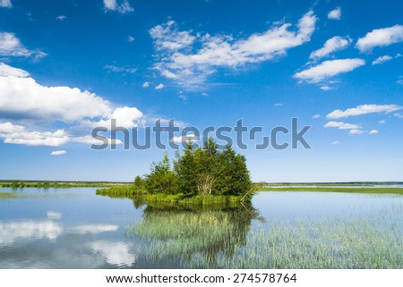 Lake Serenity Cloudscape Above  - stock photo