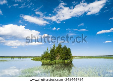 Lake Serenity On a Clear Day  - stock photo