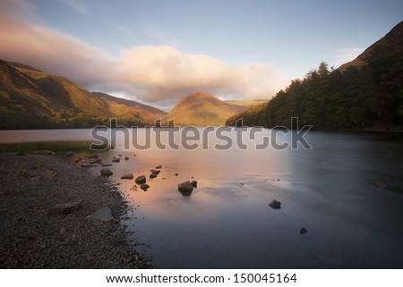 lake side landscape - stock photo