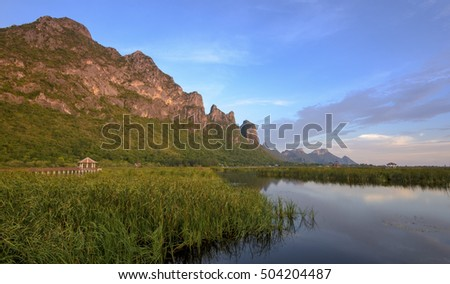 Lake Side Mountain View of Khao Sam Roi Yot National Park, Thailand