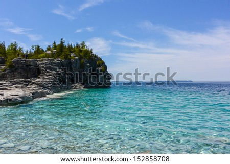 Lake side view during the summer - stock photo