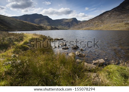 lake side view over mountains of snowdonia, north wales - stock photo