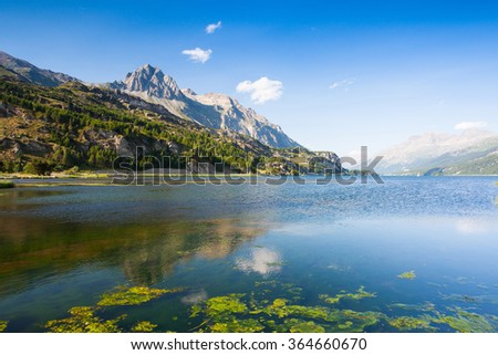 Lake Sils. It is a lake in the Upper Engadine valley, Grisons, Switzerland. - stock photo