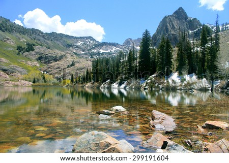 lake site nestled high up in the mountains