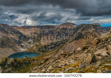 Lake Solitude as seen from Paintbrush Divide - stock photo