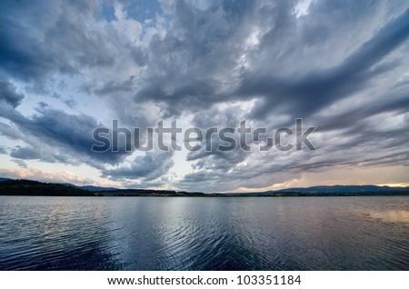 Lake storm - stock photo