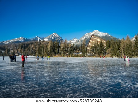 Lake Strbske pleso in High Tatras, Slovakia. Winter sunny landscape