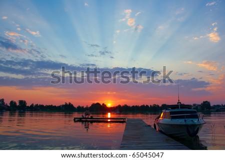 Lake sunset landscape - stock photo
