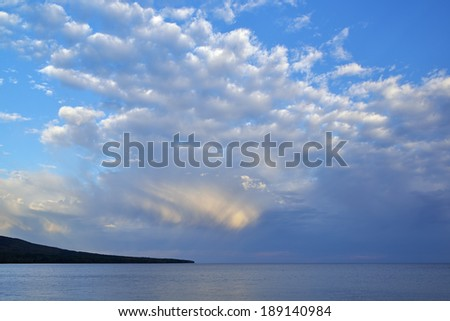 Lake Superior and clouds at Porcupine Mountains Wilderness State Park, Michigan's Upper Peninsula, USA  - stock photo