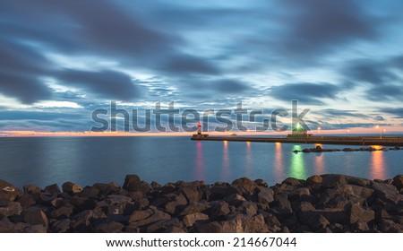 Lake Superior Lighthouse at Duluth, sunrise on the early morning. - stock photo