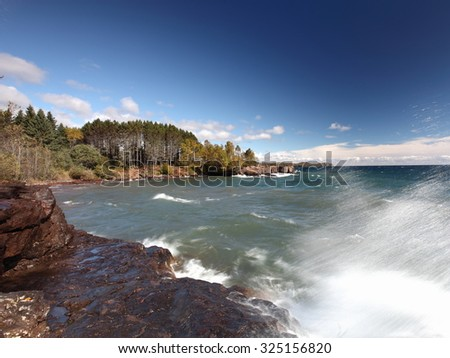 Lake Superior north shore, Minnesota at fall season