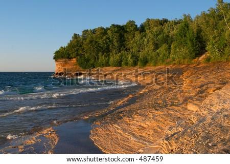 Lake Superior Sandstone Beach - stock photo