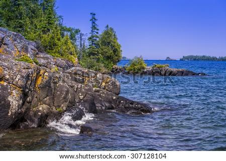 Lake Superior Shoreline, Isle Royale National Park, Michigan, USA - stock photo
