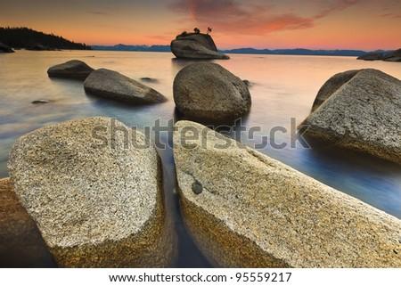 Lake Tahoe after sunrise - stock photo