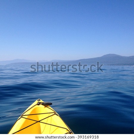 LAKE TAHOE - AUGUST 22, 2015: 50 Shades of Blue. Kayaking in Lake Tahoe near King's Beach.