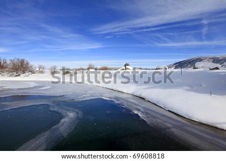 Lake Tahoe, CA near marina with dark blue water - stock photo