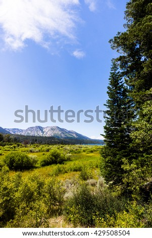 LAKE TAHOE, CALIFORNIA - CIRCA JULY 2015: Lake Tahoe is a popular tourist destination for hikers, skiers, and explorers.