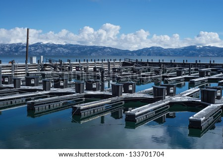 Lake Tahoe marina travel location during winter - stock photo