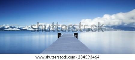 Lake Tahoe Snowy Pier Panorama - stock photo