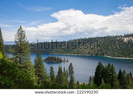 Lake Tahoe - view of Emerald Bay on a summer day. - stock photo