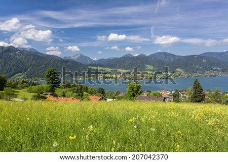 Lake Tegernsee in Bavaria, Germany, in summer - stock photo