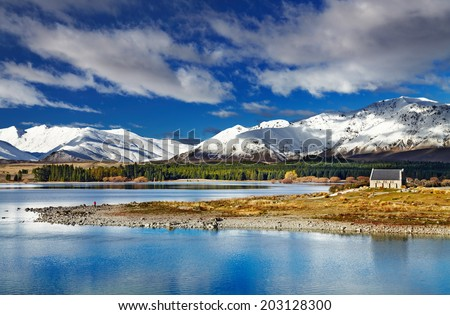 Lake Tekapo and Church of the Good Shepherd, New Zealand - stock photo