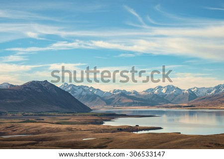Lake Tekapo with Meadow and Mountain, South Island, New Zealand