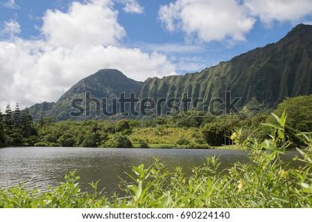 Lake To Mountain View At Hoomaluhia Botanical Gardens, Oahu, Hawaii, USA