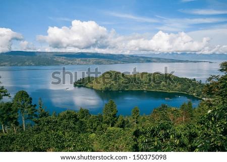 Lake toba in North Sumatra, Indonesia - stock photo