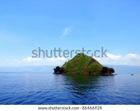 Lake Toba, Samosir island, and its view around - stock photo