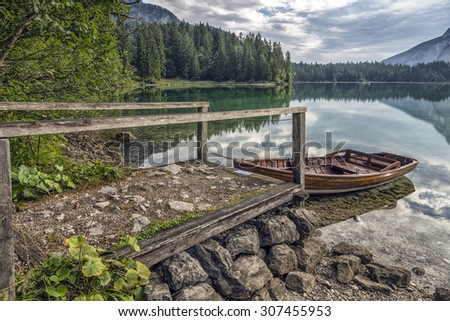 Lake Tovel, Italy - Mountains and Trees with Boat