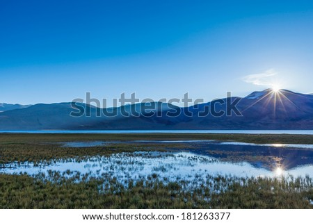 Lake Tso Moriri in Himalayas on sunrise. Ladakh, Inda