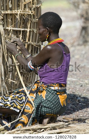 LAKE TURKANA, KENYA-JANUARY 12: El molo woman makes traditional hut January 12, 2013 near lake Turkana, Kenya. The El molo are one of the disappearing tribes of Africa. - stock photo