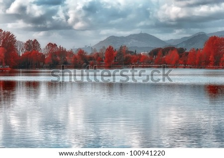 lake-tuscany lake in easter day - stock photo