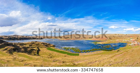 Lake Umayo is a lake in the Puno Region of Peru - stock photo