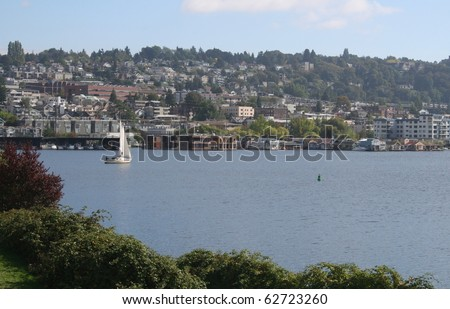 Lake Union with House Boats near Seattle Washington - stock photo