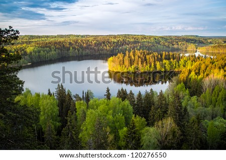 Lake view from the lookout tower in Finland - stock photo