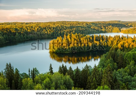 Lake view from the lookout tower of Aulanko in Finland. - stock photo