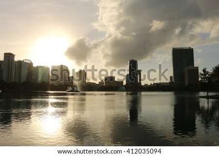 Lake view/Lake Eola/Please visit my portfolio for more photos like this! - stock photo