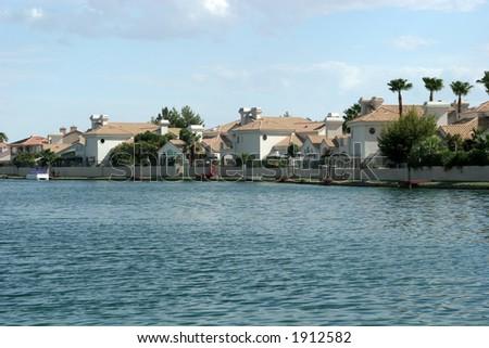 Lake view neighborhood - stock photo