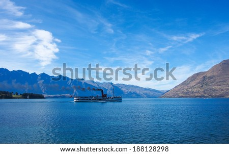 Lake Wakatipu landscape, Queenstown, Otago, New Zealand - stock photo